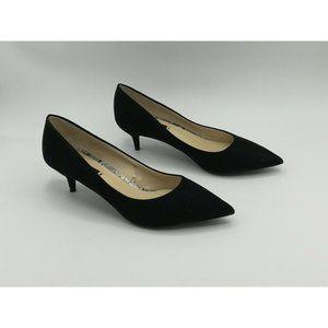 Zara Pointed Toe Suede Kitten Heels 37 Black